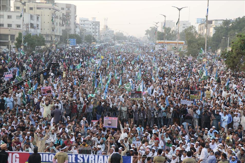 Pakistan'da Halep ve Myanmar'a destek gösterisi 1