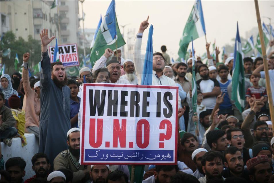 Pakistan'da Halep ve Myanmar'a destek gösterisi 4