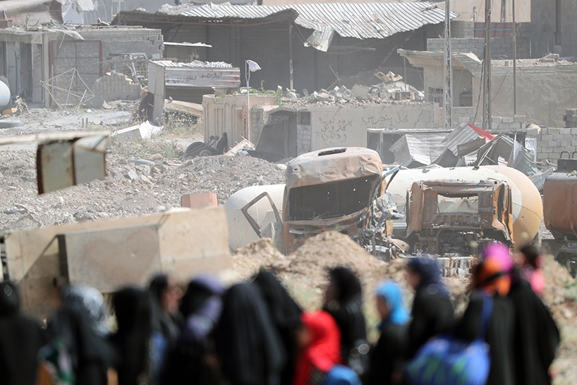 Fotoğraflara Musul'da sivillerin göçü 11