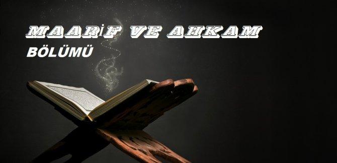 Sitemizde Yeni Bölüm''Maarif ve Ahkam''