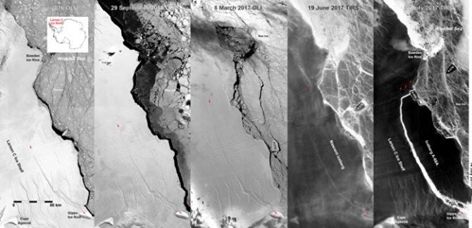 NASA, Antarktika'dan kopan dev buz dağı kütlesinin yeni fotoğraflarını yayınladı