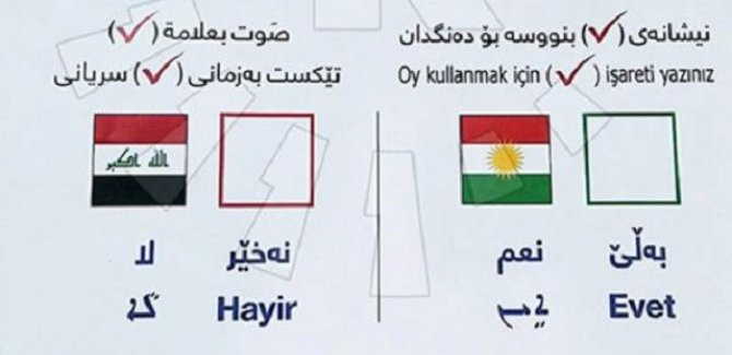 Referandumda  4 dilde pusula