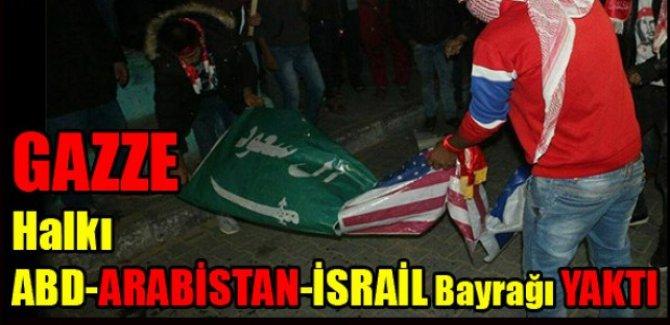 GAZZE Halkı ABD-ARABİSTAN-İSRAİL Bayraklarını YAKTI