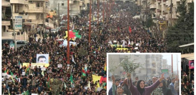 Afrin'de zeytin dalı yürüyüşü