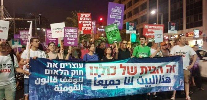 Tel Aviv'de Yahudi Ulus devleti yasasına protesto gösterileri