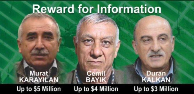 Amerîka 12 milyon dolar bo girtina serkirdeyên PKKê terxan dike