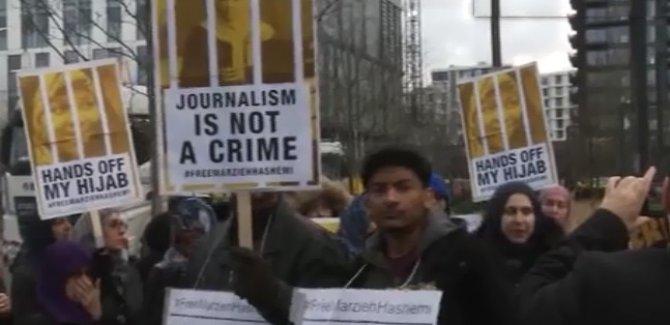 Londra'da Haşimi'nin gözaltına alınması protesto edildi