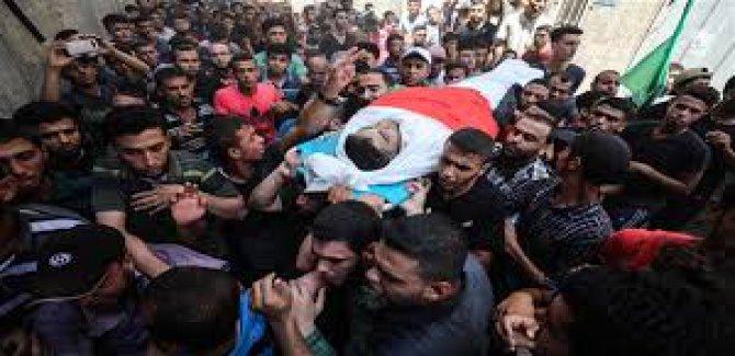 GAZZE, İsrail Saldırısında ŞEHİT Olanları Uğurladı