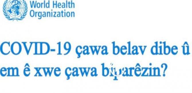 Dünya Sağlık Örgütü'nden koronavirüse karşı Kürtçe bilgilendirme