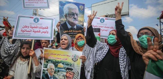 Gazze'de Filistinli kadınlardan İsrail'in 'ilhak' planına karşı gösteri