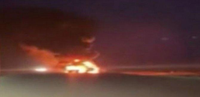 ABD ordusuna ait askeri  3 TIR ateşe verildi