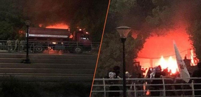 Basra kentinde göstericiler parlamento temsilciliğini ateşe verdi