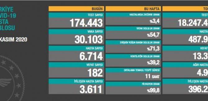 30 bin 103 kişinin testi pozitif çıktı, 182 vefat