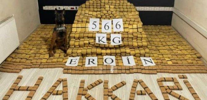 Hakkari'de  566 kilogram eroin ele geçirildi