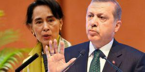 Erdogan bi seroka Myanmarê Aung San Suu Çîî re axivî