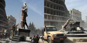 ÖSO Afrin'de Demirci Kawa'nın heykelini yıktı