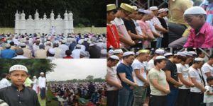 Asya'da Kurban Bayramı namazı için camiler doldu