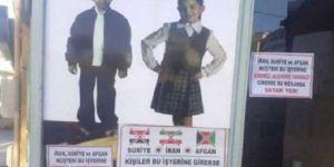 Irkçı Afiş 'İran, Suriye ve Afgan müşteriler giremez'